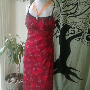 Maxi Dress Sheer Rose Red